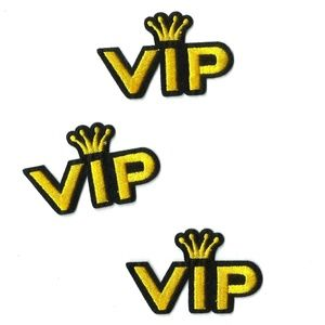 NEW VIP PATCHES IRON ON EMBROIDERED BADGES 3-PACK
